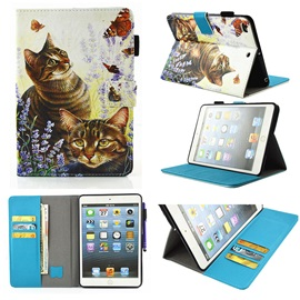 Cats Pattern Stand Case with Cash/Card Slots for 9.7-inch IPad Tablet