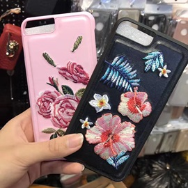 Beautiful Red Rose Flower Embroidery Lace Floral Pattern Ultra Thin Case for iPhone 8/8 Plus/7 Plus/7/6S/6S Plus