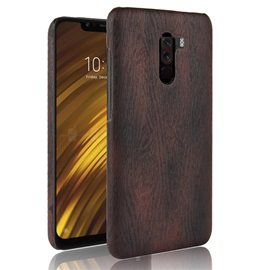 Xiaomi Pocophone F1 Case Wood Grain Leather Protection Leather Case PC Hard Shell Back Cover