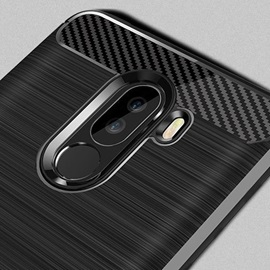 Xiaomi Pocophone F1 Case, Shockproof Brushed Rugged Anti-Drop Carbon Fiber Rubber Soft Silicone Full-Body Protective Cover
