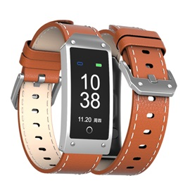 Business Smartwatch Band Leather Strap Blood Pressure Fitness Tracker for Apple Android Phones