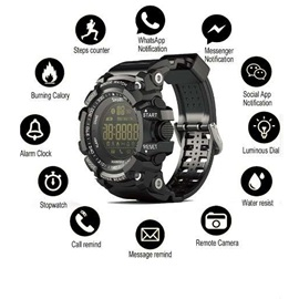 Bluetooth Clock EX16 Smart Watch Notification Remote Control Pedometer Sport Watch Waterproof Men's Wristwatch
