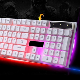 White Wired USB Rainbow Backlight Game Keyboard For Desktops