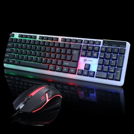 T11 USB Mechanical Keyboard & Mouse Kit Support Waterproof Backlight for Desktop/Tablet