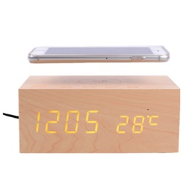 Original X5 QI Wireless Charging Wood Clock Bluetooth Speaker with NFC,Dual USB Charger,Alarm Clock,Temperature Hands-free Phone