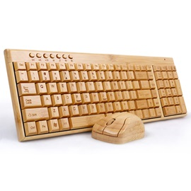 Multimedia Bamboo Wireless Keyboard 2.4GHz Handmade Wooden Wireless Keyboard &Mouse