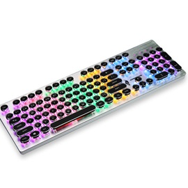 New Punk Vintage Wired Mechanical Keyboard with 104-key