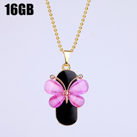 Rose Red Butterfly Waterproof USB2.0 Flash Drive Necklace U Disk