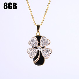USB2.0 Flash Drive Four-Leaf Clover Necklace Waterproof U Disk