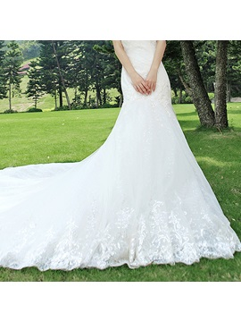Simple Style Mermaid Sweetheart Floor-Length Cathedral Wedding Dress