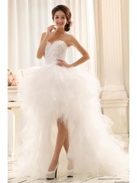 Elegant Asymmetrical Sweetheart Lace-Up Court Train Paillette Wedding Dress
