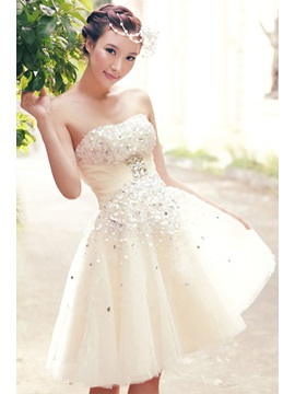 Chic Beads Strapless A-Line Summer Beach Wedding Dress