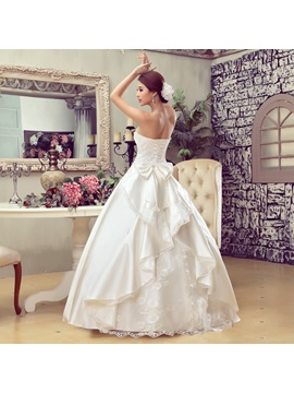 Beautiful Ball Gown Bowknot Floor Length Strapless Wedding Dress