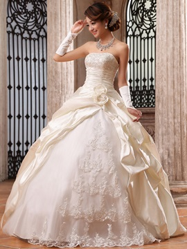 Buy Graceful Ball Gown Flowers Lace Strapless Floor Length Wedding Dress