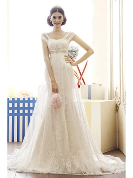 Gorgeous Mermaid Empire Beads Chapel Train Lace Wedding Dress