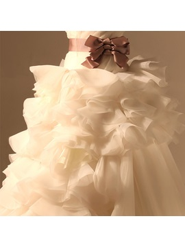 Classical Ruffles A-line Ruched Bodice Strapless Court Train Wedding Dress