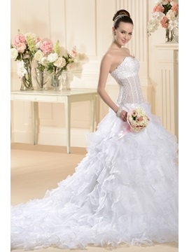 Ball Gown Sweetheart Floor-Length Sleeveless Ruffles Wedding Dress