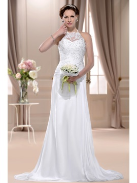 Sheath/Column High-Neck Sleeveless Beaded/Sequins Floor-length Wedding Dress
