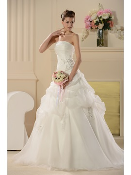 Gorgeous Strapless Pick-Ups Appliques Sequins Wedding Dress