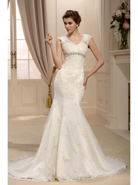 Spectacular Empire Trumpet/Mermaid Straps Floor-Length Chapel Lace Wedding Dress
