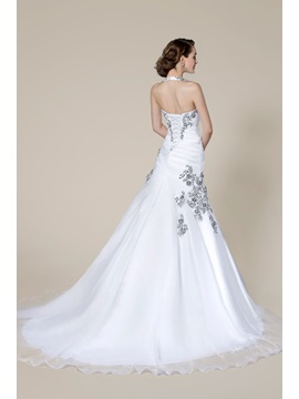 Popular Halter Beading Lace-Up Court Train Floor-length Wedding Dress