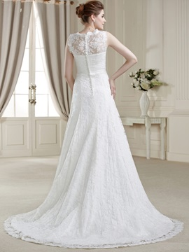Elegant A-Line V-Neck Lace Court Train Wedding Dress