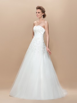 A-Line Appliques Beading Floor-Length Strapless Wedding Dress