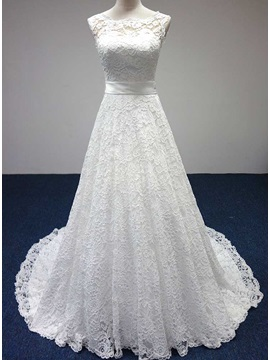 Simple Style Scoop Neck A-Line Floor Length Lace Wedding Dress
