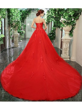 Strapless heart Lace Appliques A-line Tulle Red Wedding Dress