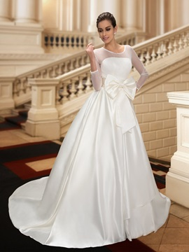Sheer Neck Bowknot A-Line Long Sleeve Button Wedding Dress