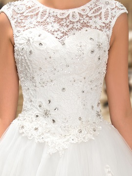 Graceful Beaded Lace Jewel Neck Floor Length Wedding Dress