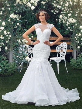 Jewel Neck Short Sleeve Sheer Lace Mermaid Wedding Dress
