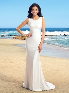 Simple Style Jewel Neck Sleeveless Sheer Back White Mermaid Wedding Dress