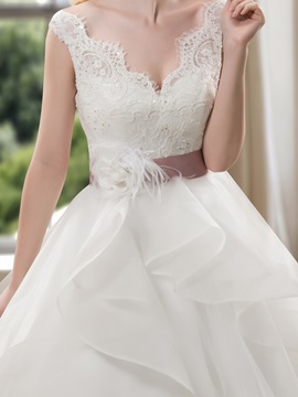 Fancy V-Neck Sequins Tiered Lace Wedding Dress with Sash