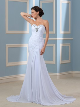 Strapless Beaded Column/Sheath Pleated Chiffon Beach Wedding Dress