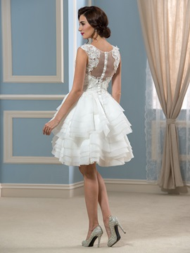 Straps Appliques Button Tiered Short Beach Wedding Dress