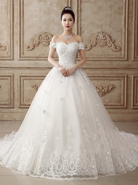 Flare A-Line Beaded Off the Shoulder Lace Wedding Dress