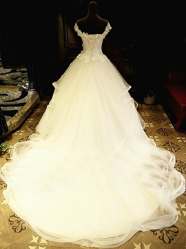 Beading Lace Top Off the Shoulder Ivory Wedding Dress