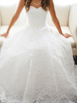 Princess Sweetheart Neckline Lace Wedding Dress