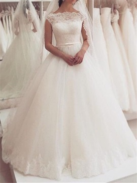 Bateau Neckline Cap Sleeves Lace Appliques Wedding Dress