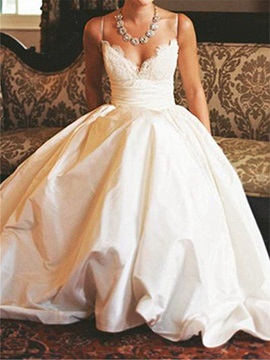 Spaghetti Straps Lace Wedding Dress