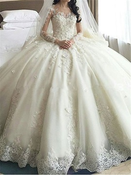 Dramatic V-Neck Long Sleeves Appliques Wedding Dress