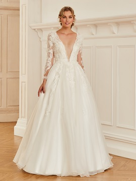 Deep V-Neck Button Appliques Wedding Dress