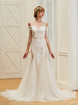 Illusion Neck 3/4 Length Sleeves Mermaid Backless Wedding Dress