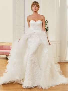 Strapless Mermaid Detachable Train Lace Wedding Dress