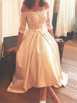 Off the Shoulder Half Sleeves High Low Lace Wedding Dress