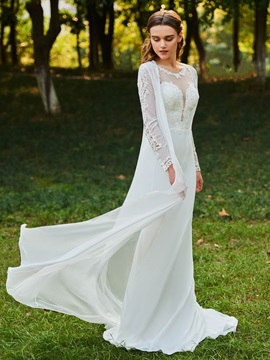Straps Appliques Sheath Wedding Dress with Long Sleeve Jacket