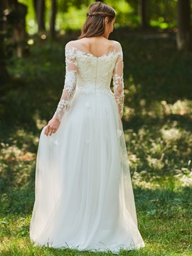 Illusion Neck A-Line Beading Appliques Wedding Dress