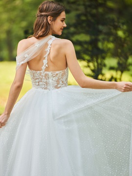 One Shoulder Appliques A-Line Wedding Dress