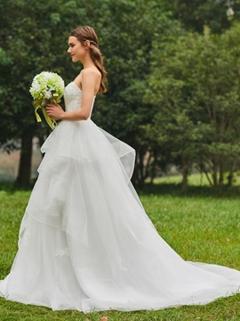 Strapless Appliques Tiered Ball Gown Wedding Dress